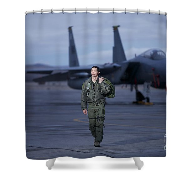 A U.s. Air Force Pilot Walking Away Shower Curtain by Terry Moore