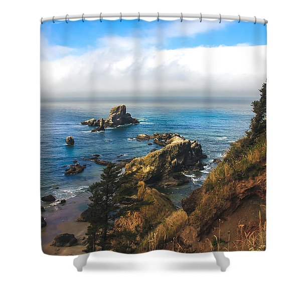 A View From Ecola State Park Shower Curtain by Robert Bales