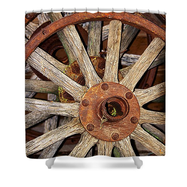 A Wheel In A Wheel Shower Curtain by Phyllis Denton