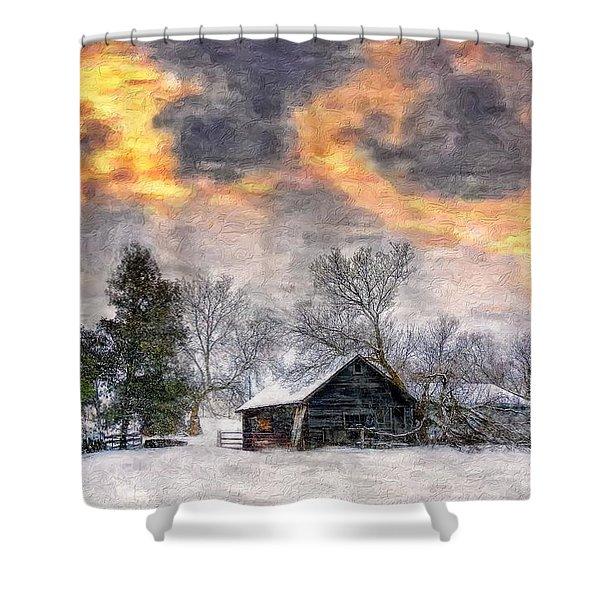 A Winter Sky Paint Version Shower Curtain by Steve Harrington