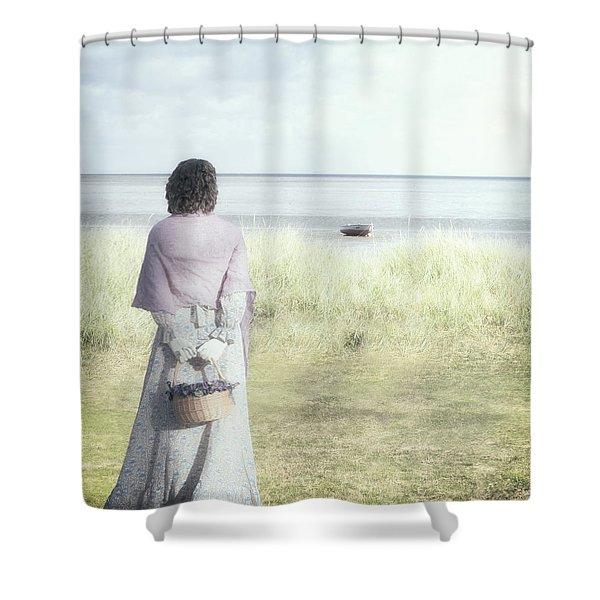 a woman and the sea Shower Curtain by Joana Kruse