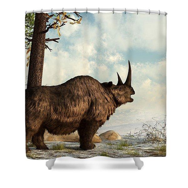 A Woolly Rhinoceros Trudges Shower Curtain by Daniel Eskridge