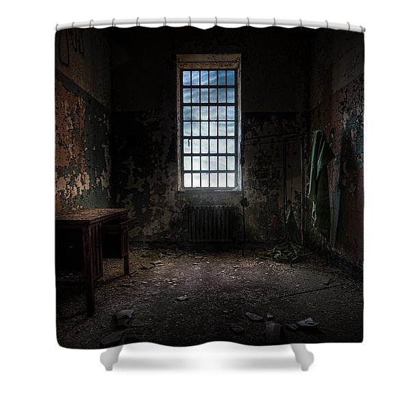 Abandoned Building - Old Room - Room With A Desk Shower Curtain by Gary Heller