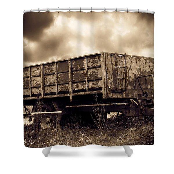 Abandoned Cart Shower Curtain by Wim Lanclus