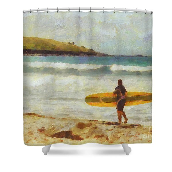 About to surf Shower Curtain by Pixel Chimp