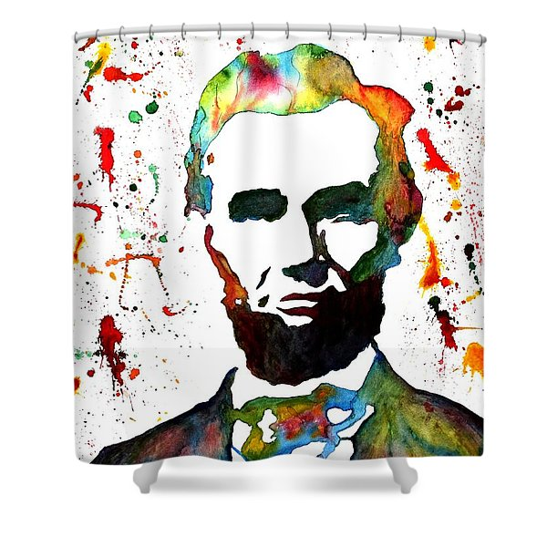 Abraham Lincoln Original Watercolor Painting Shower Curtain by Georgeta Blanaru