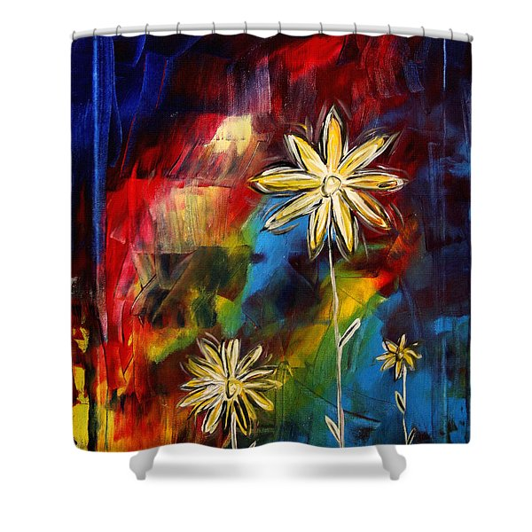 Abstract Art Original Daisy Flower Painting VISUAL FEAST by MADART Shower Curtain by Megan Duncanson