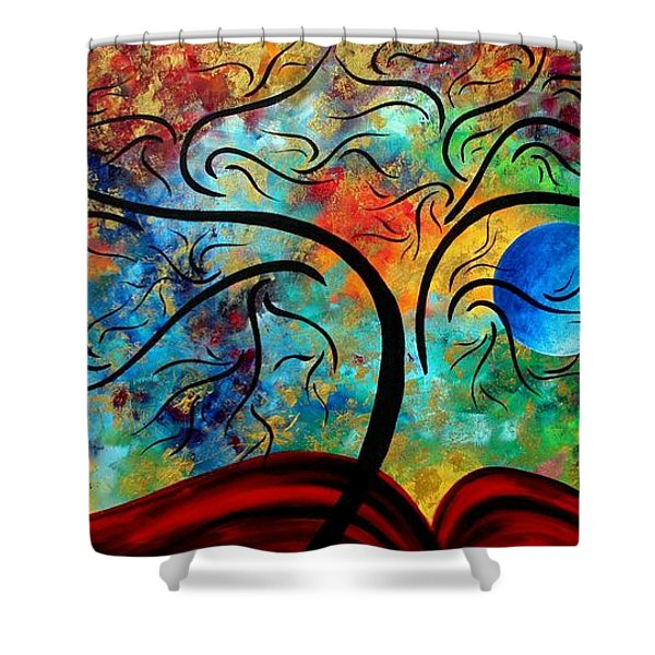 Abstract Art Original Landscape Painting Metallic Gold Textured Blue Moon Rising By Madart Shower Curtain by Megan Duncanson