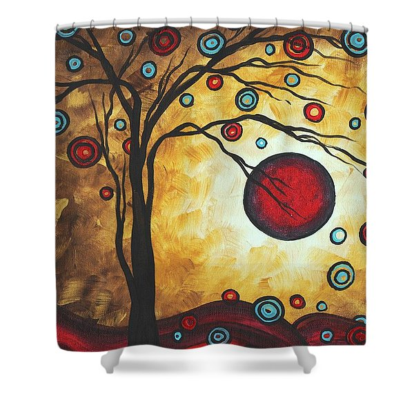 Abstract Art Original Metallic Gold Landscape Painting FREEDOM OF JOY by MADART Shower Curtain by Megan Duncanson