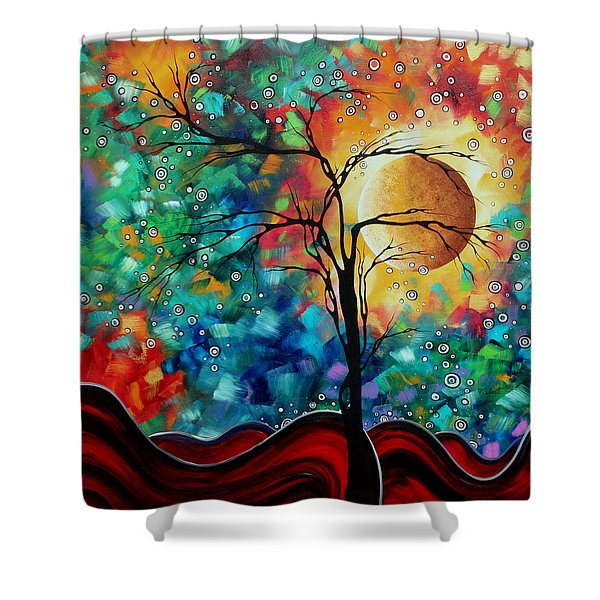 Abstract Art Original Whimsical Modern Landscape Painting BURSTING FORTH by MADART Shower Curtain by Megan Duncanson