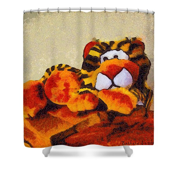 Abstract Bengal Tiger Shower Curtain by Barbara Snyder