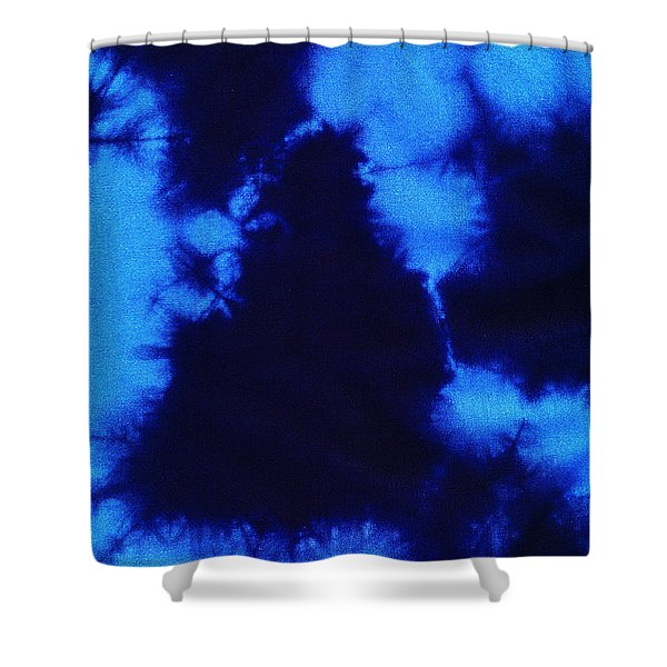 Abstract Blue Batik Pattern Shower Curtain by Kerstin Ivarsson
