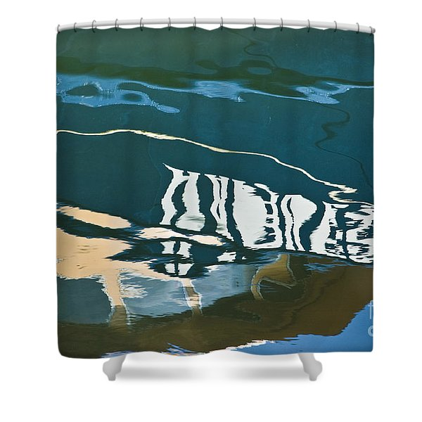 Abstract Boat Reflection Shower Curtain by Dave Gordon