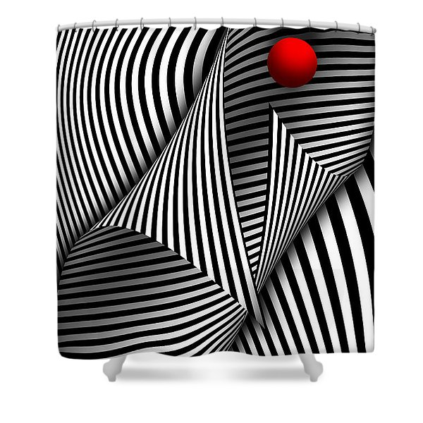 Abstract - Catch The Red Ball Shower Curtain by Mike Savad