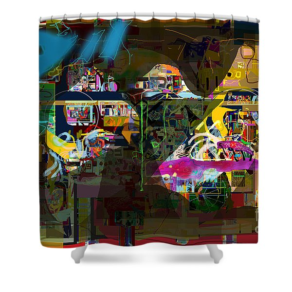 abstract drawings 7b tefilla without cavona h Shower Curtain by David Baruch Wolk