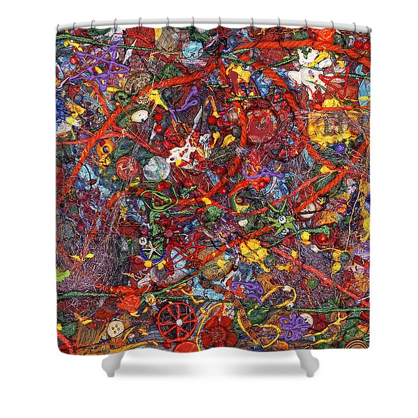 Abstract - Fabric Paint - Sanity Shower Curtain by Mike Savad