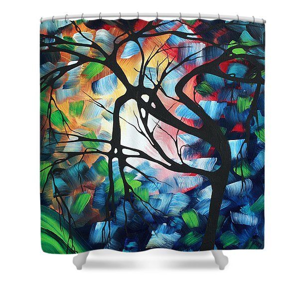 Abstract Landscape Art Original Colorful Painting Tree Maze By Madart Shower Curtain by Megan Duncanson
