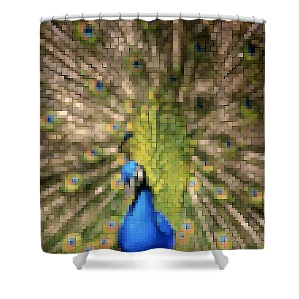 Abstract Peacock digital artwork Shower Curtain by Georgeta Blanaru