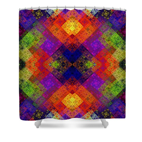 Abstract - Rainbow Connection - Panel - Panorama - Vertical Shower Curtain by Andee Design