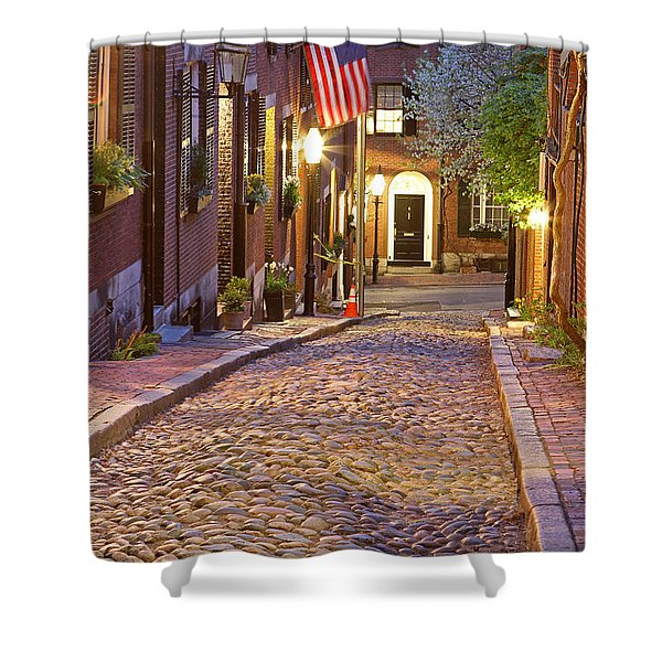 Acorn Street Of Beacon Hill Shower Curtain by Juergen Roth