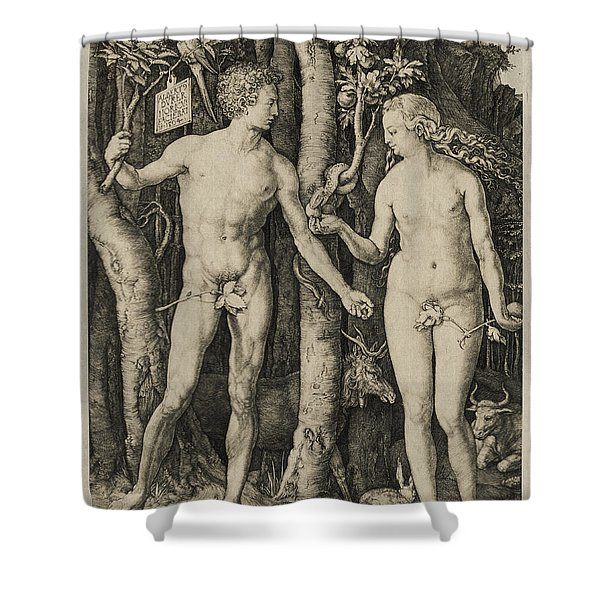 Adam And Eve Shower Curtain by Aged Pixel