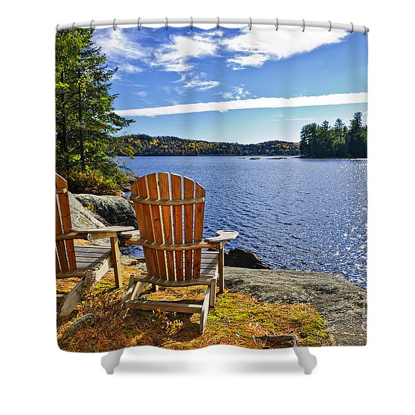 Adirondack chairs at lake shore Shower Curtain by Elena Elisseeva