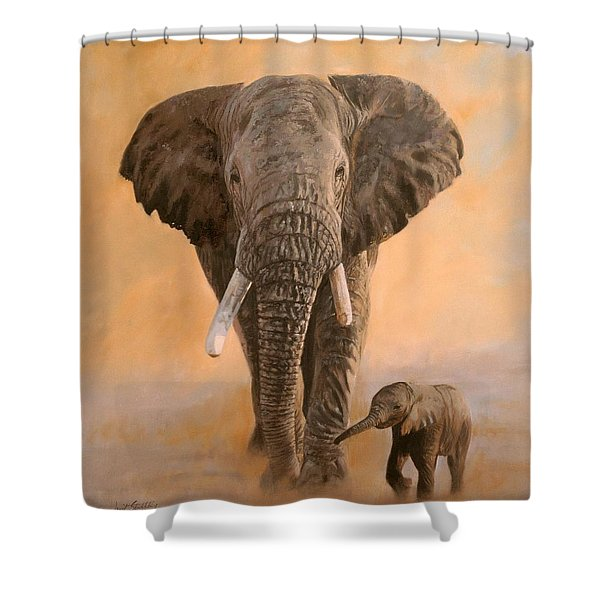 African Elephants Shower Curtain by David Stribbling