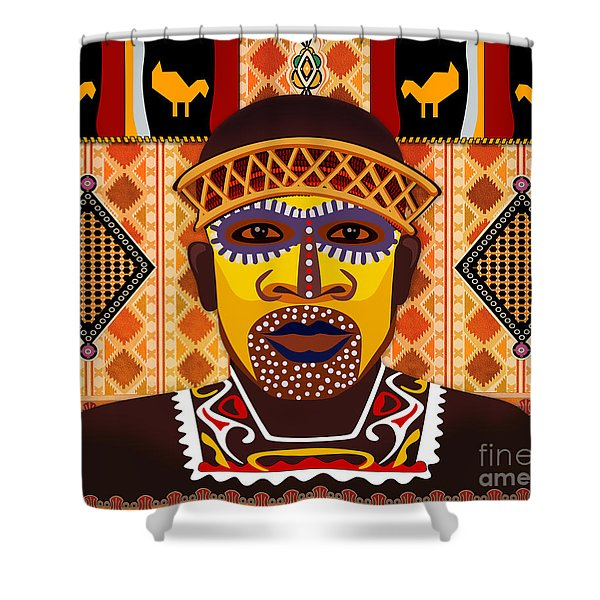 African Tribesman 2 Shower Curtain by Bedros Awak