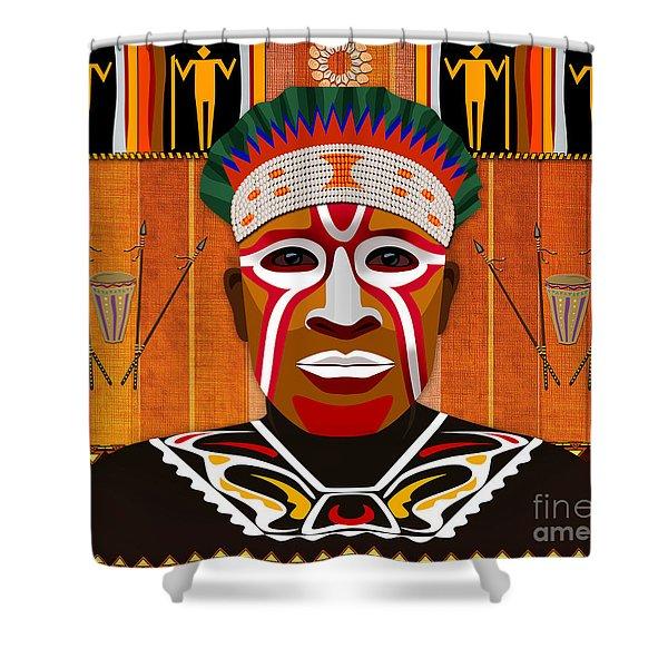 African Tribesman 3 Shower Curtain by Bedros Awak