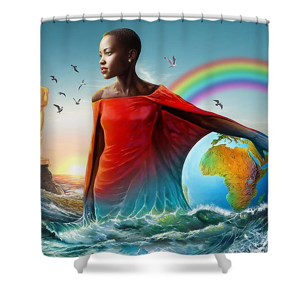 The Lupita Tsunami Shower Curtain by Anthony Mwangi