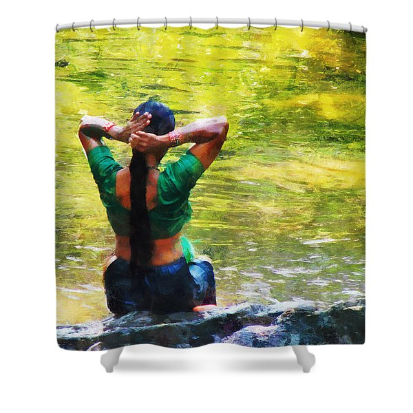 After the River Bathing. Indian Woman. Impressionism Shower Curtain by Jenny Rainbow