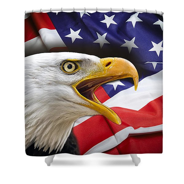 AGGRESSIVE EAGLE and UNITED STATES FLAG Shower Curtain by Daniel Hagerman