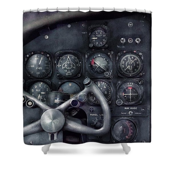 Air - The Cockpit Shower Curtain by Mike Savad