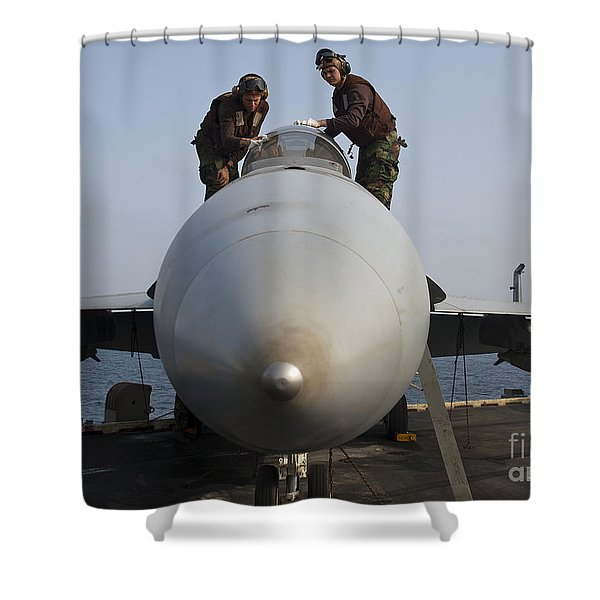 Airmen Clean The Canopy Of An Fa-18f Shower Curtain by Stocktrek Images