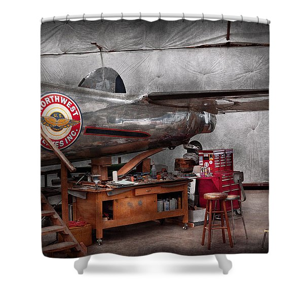 Airplane - The repair hanger  Shower Curtain by Mike Savad
