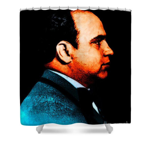 Al Capone c28169 - Black - Painterly - Text Shower Curtain by Wingsdomain Art and Photography
