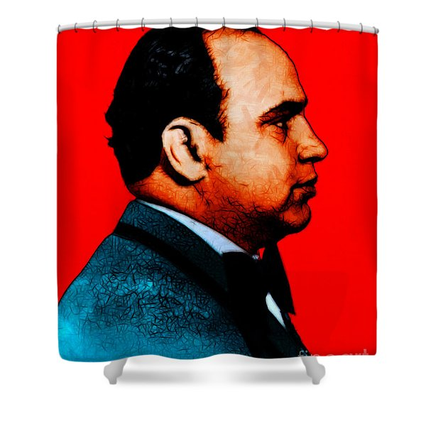 Al Capone C28169 - Red - Painterly - Text Shower Curtain by Wingsdomain Art and Photography
