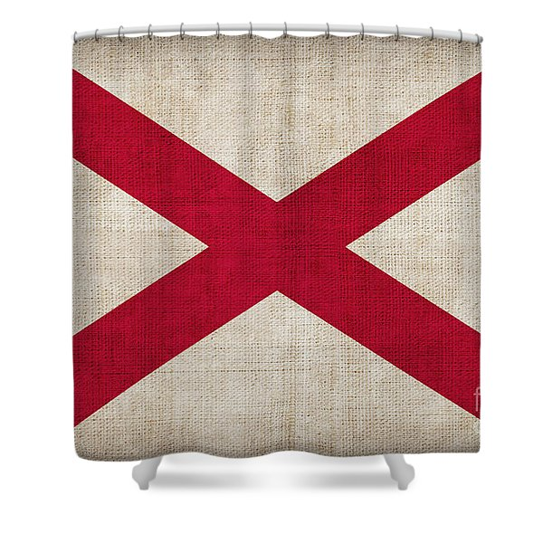 Alabama State Flag Shower Curtain by Pixel Chimp