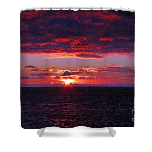 Alaskan Sunset Shower Curtain by Bob Hislop