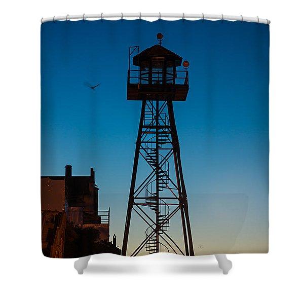 Alcatraz Guard Tower Shower Curtain by Steve Gadomski