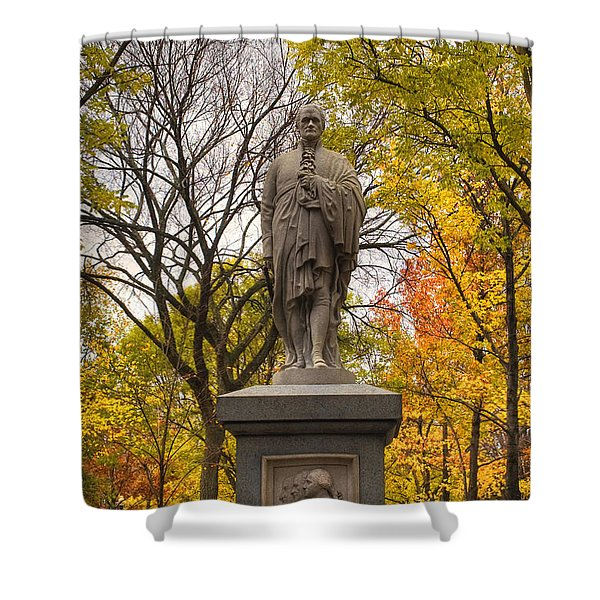 Alexander Hamilton Statue Shower Curtain by Joann Vitali