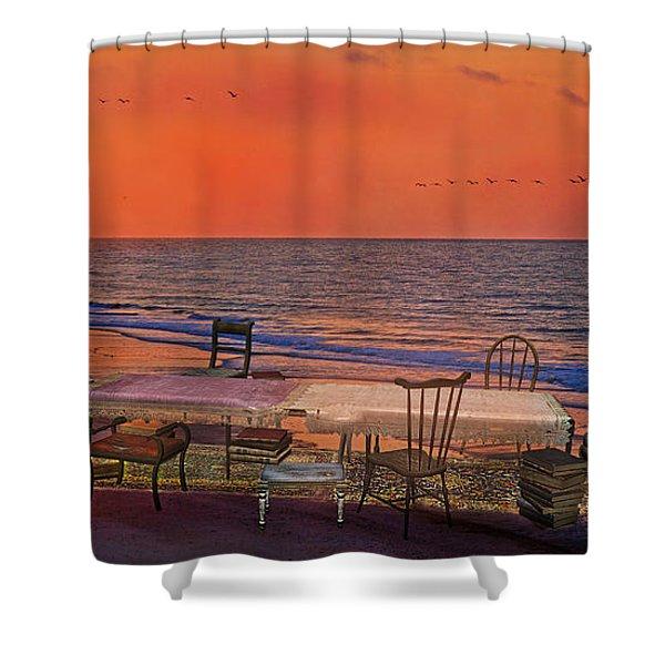 Alice's Topsail Island Tea Shower Curtain by Betsy C  Knapp