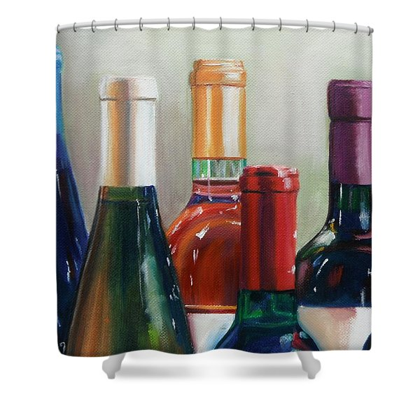 All Lined Up Shower Curtain by Donna Tuten