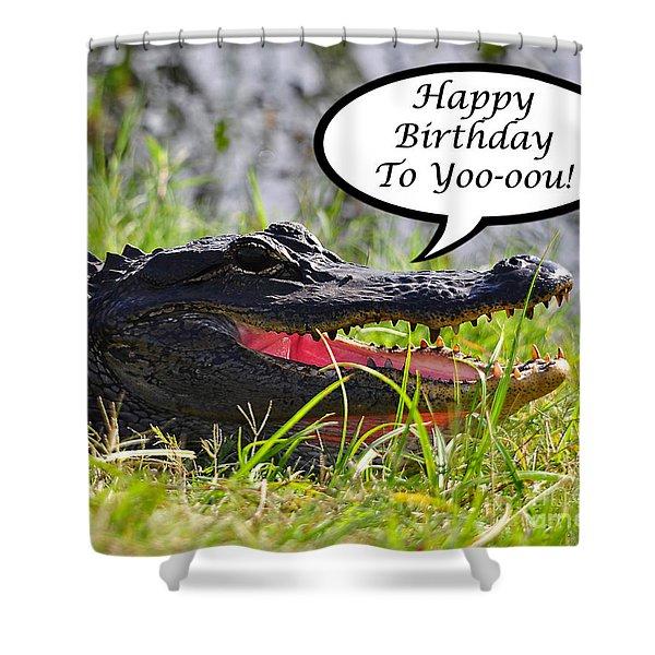 Alligator Birthday Card Shower Curtain by Al Powell Photography USA