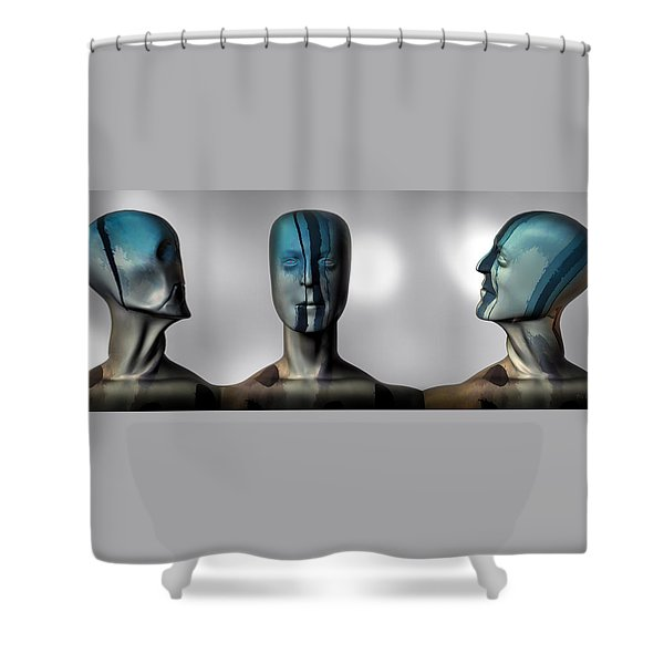 Almost Man In The Middle Shower Curtain by Bob Orsillo