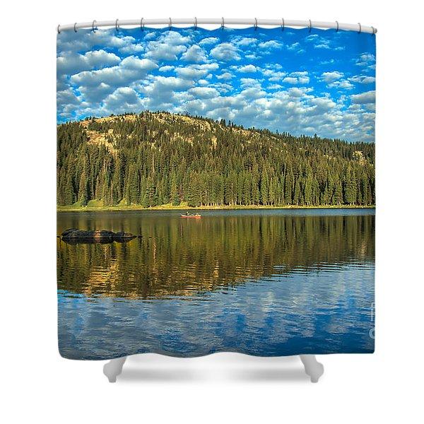 Alpine Lake Fishing Shower Curtain by Robert Bales