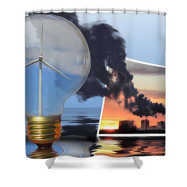 Alternative Energy Shower Curtain by Shane Bechler