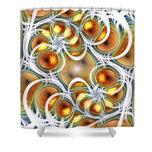 Amber Clusters Shower Curtain by Anastasiya Malakhova