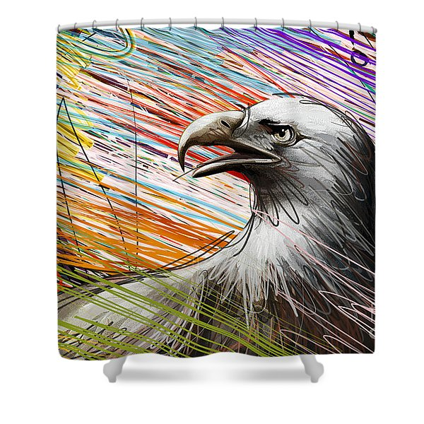 American Eagle Shower Curtain by Bedros Awak