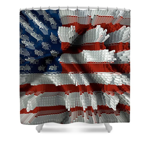 American Flag Abstract Shower Curtain by Todd and candice Dailey